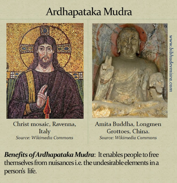 A mosaic of Christ doing the Ardhapataka Mudra