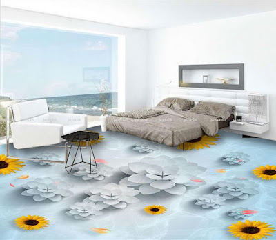 Simple 3D floor murals for modern bedroom flooring