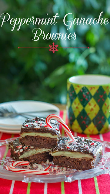 A delicious and decadent holiday treat! Full of delicious minty flavor and tons of chocolate goodness! Great for any Christmas holiday gathering! Peppermint Ganache Brownies Recipe
