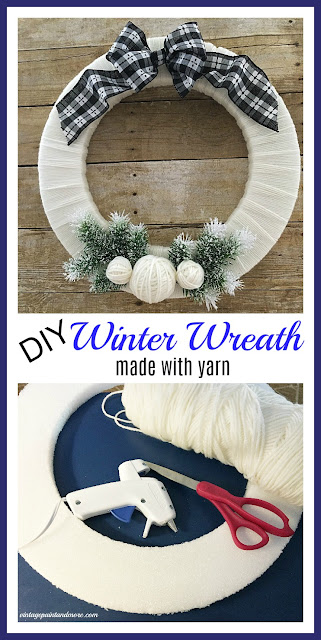 Vintage Paint and more... a winter wreath made by wrapping yarn around a styrofoam wreath form and embellishing with winter themed objects