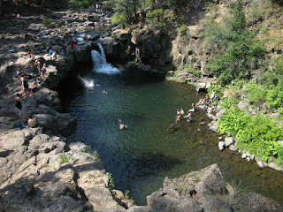 Swimmers at the Lower Falls of the McCloud River, McCloud, California
