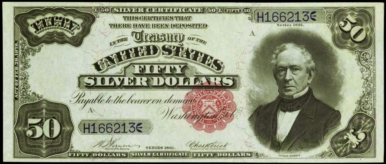 US currency Fifty Dollar Silver Certificate 1891