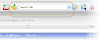 "Picture shows how to select the ""Export to EML"" export profile in EML Viewer PRo"
