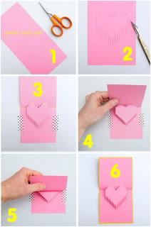 cara membuat pop up 3d berbentuk hati