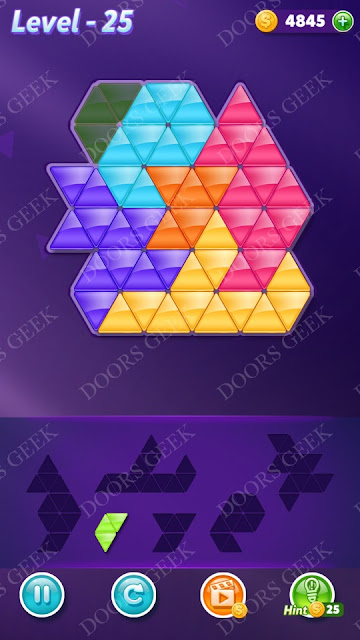 Block! Triangle Puzzle Intermediate Level 25 Solution, Cheats, Walkthrough for Android, iPhone, iPad and iPod