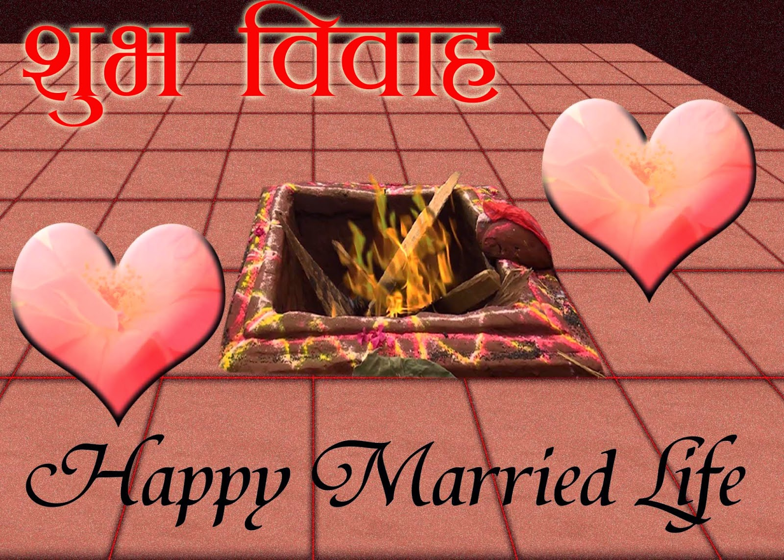 Happy Married Life Wedding Greeting Card For Nepali