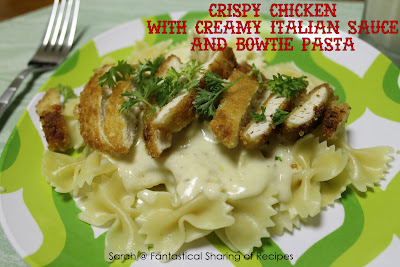 Crispy Chicken with Creamy Italian Sauce & Bowtie Pasta. Everything you would want in a dinner - crunchy chicken, smooth, creamy, rich sauce, and pasta! #chicken #pasta