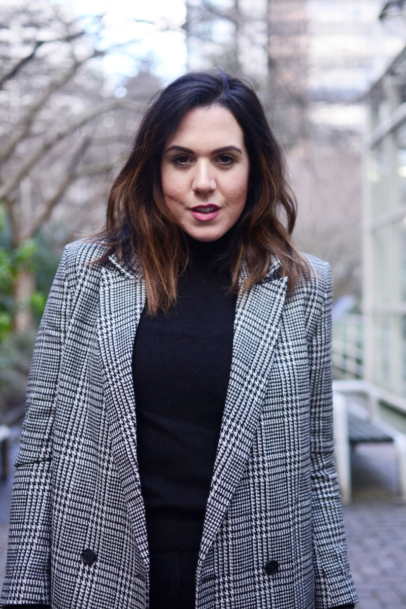 H&M plaid oversized blazer vancouver fashion blogger cute boyfriend blazer outfit chic minimalist style