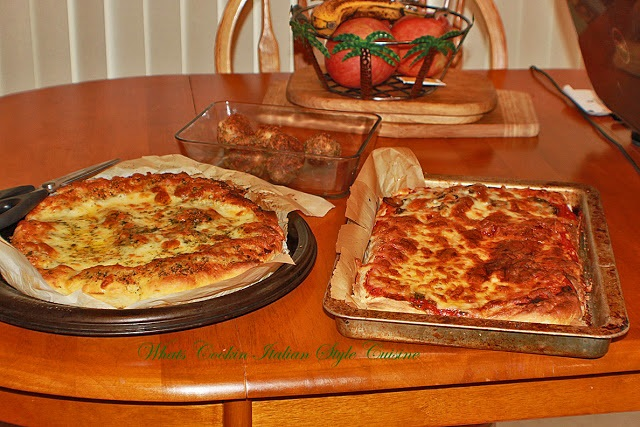 A thicker style pizza with delicious sauce and mozzarella called Sicilian style pizza