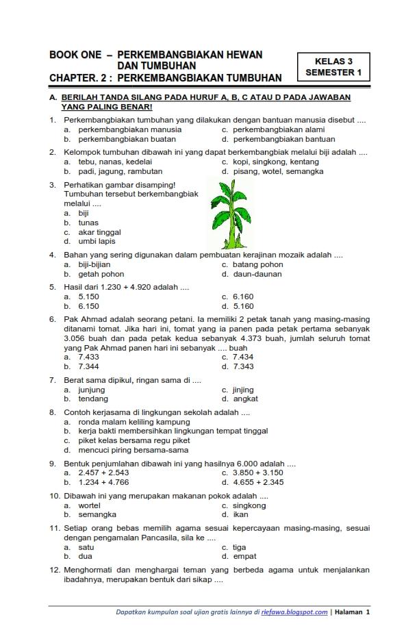 Download Soal Tematik Kelas 3 Semester 1 Tema 1 Subtema 2 Perkembangan Hewan Dan Tumbuhan