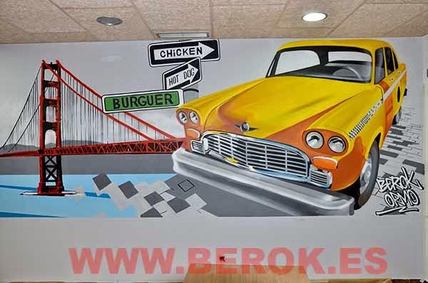 Graffiti mural taxi americano