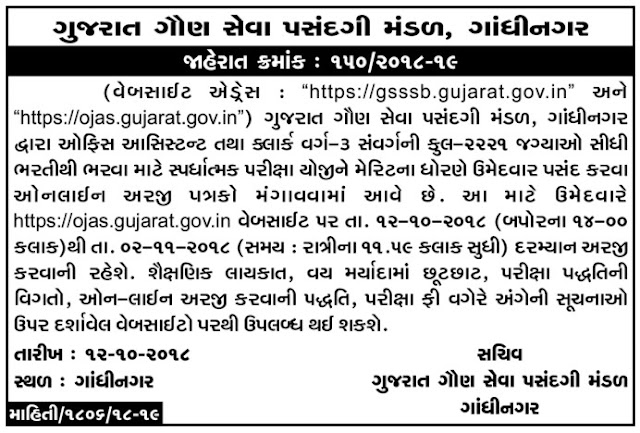 Ojas Jobs  GSSSB Recruitment 2018  2221 Office Assistant & Clerk Posts