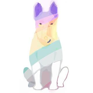 dibujo de perro de color arco iris