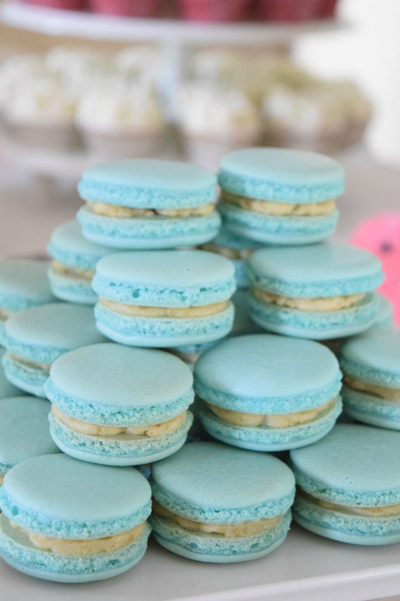Gender Neutral Baby Shower Macarons Dessert Table