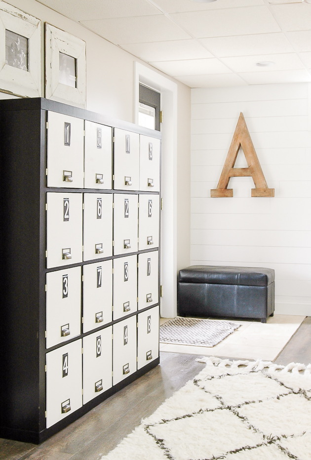 Turn a bookcase into gorgeous lockers
