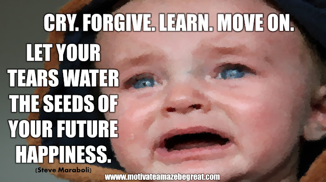 "The Meaning Behind 31 Motivational Quotes: ""Cry. Forgive. Learn. Move on. Let your tears water the seeds of your future happiness."" - Steve Maraboli"