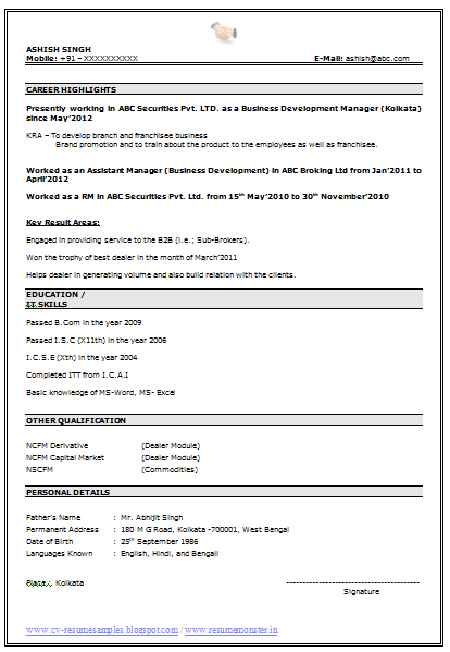 best resume resume format doc for freshers naukri