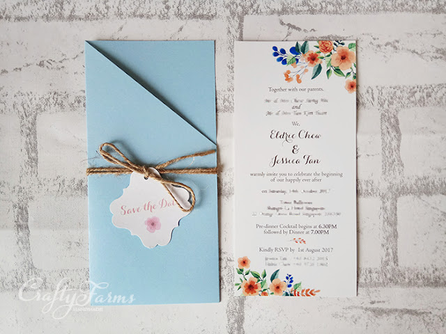 Blue and Peach Themed Wedding Invitation Card