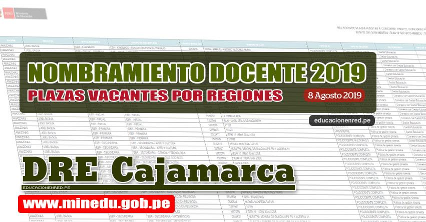 DRE Cajamarca: Relación Final de Plazas Vacantes para Nombramiento Docente 2019 (.PDF ACTUALIZADO 8 AGOSTO) www.educacioncajamarca.gob.pe