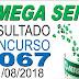 Resultado da Mega Sena concurso 2067 (11/08/2018)