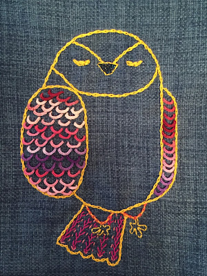 Ugle broderi, buttonhole stitch, owl embroidery on pillowcase