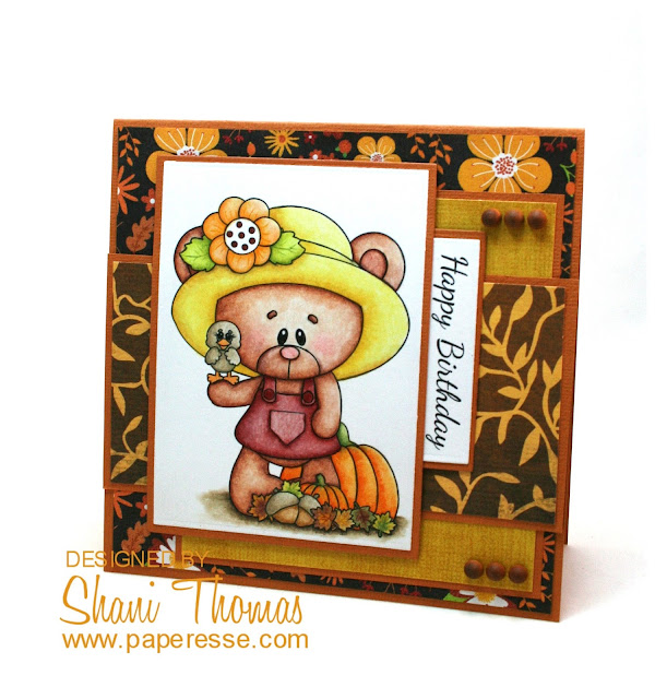 Birthday & Thanksgiving combo card featuring Marshmallow & Honey Love Fall Digi Web Studio stamp, by Paperesse.