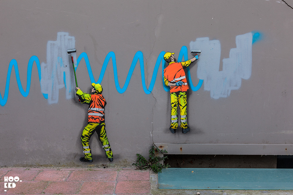 Street Artist OakOak and Jaune in Ostend, Belgium. Photo ©Hookedblog / Mark Rigney