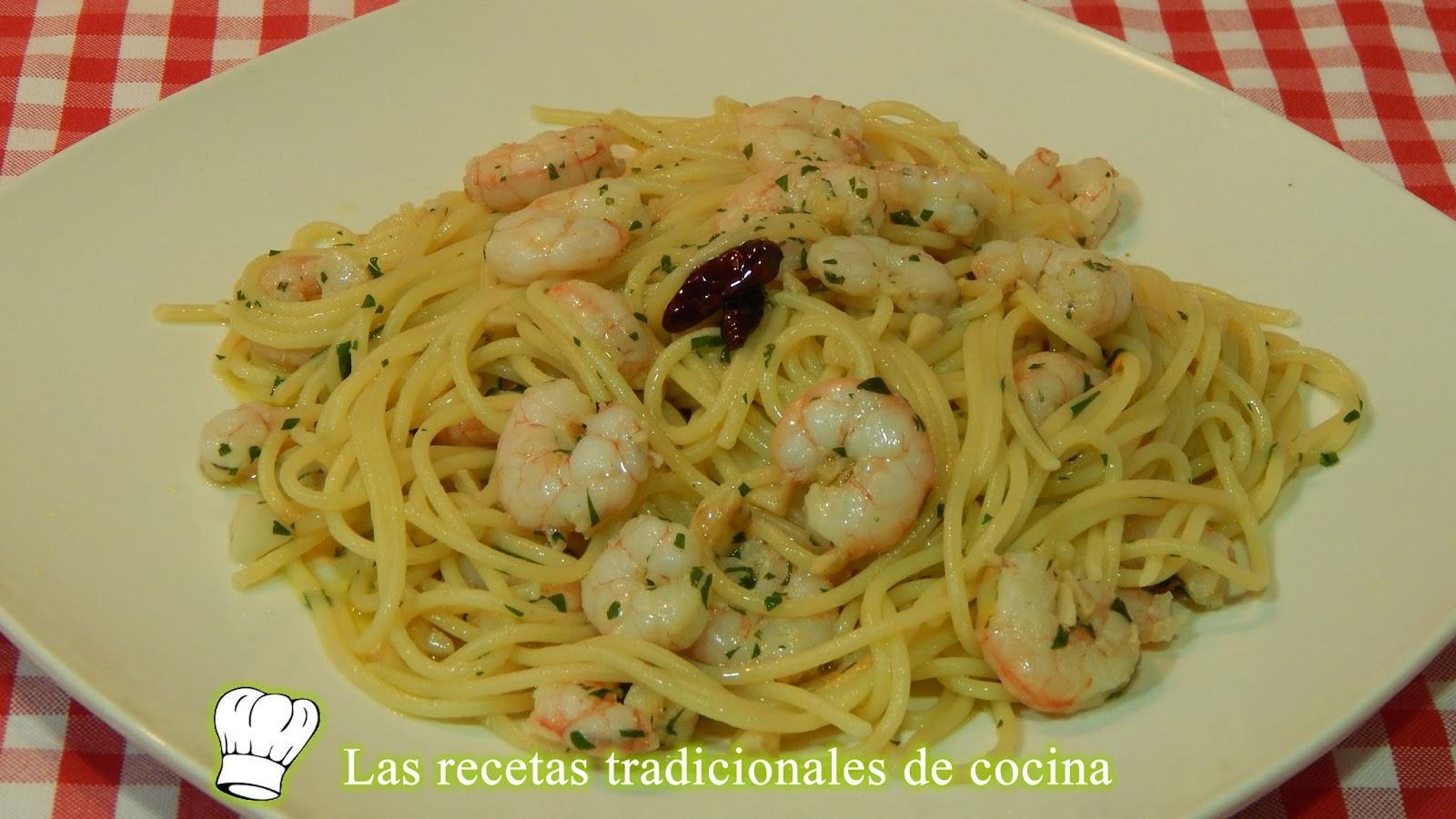 Recetas De Cocina Con Sabor Tradicional Receta De Espaguetis Con Gambas Al Ajillo