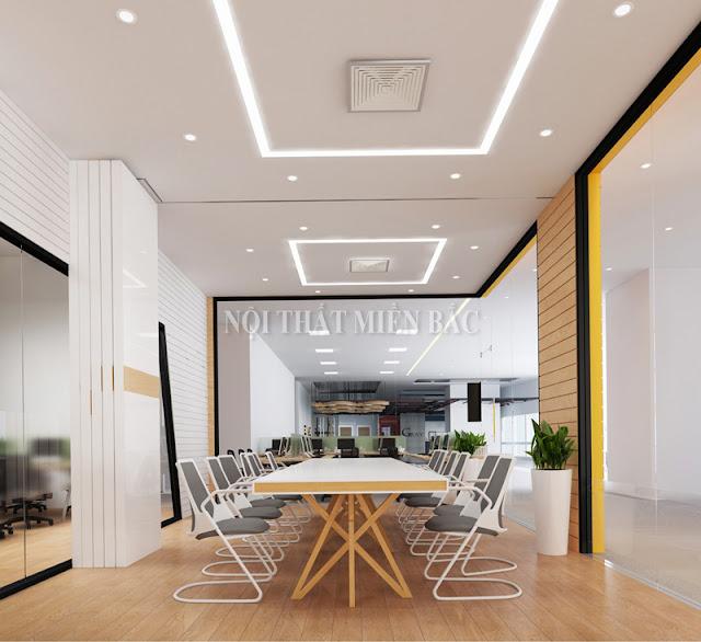 Chiếc bàn họp cùng những chiếc ghế linh hoạt chắc chắn sẽ khiến cho không gian thiết kế nội thất phòng họp trở nên thật cuốn hút và tự nhiên hơn cả