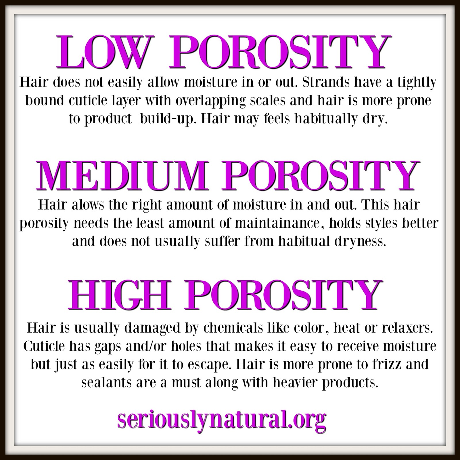 Hair porosity is simply hair's ability to absorb and retain moisture. There is high, low and normal and all three have specific needs.