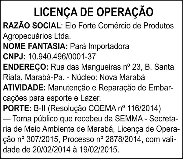 LICENÇA DE OPERAÇÃO - DE ELO FORTE COMÉRCIO DE PRODUTOS AGROPECÁRIOS LTDA.