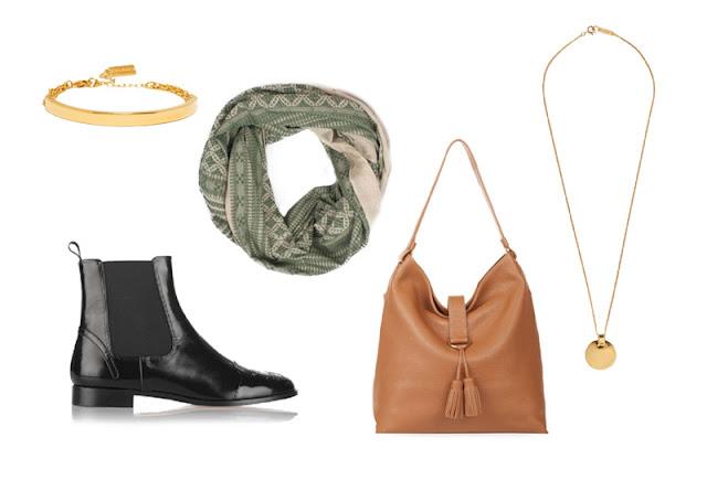 Черные ботинки челси, сумка цвета camel, шарф цвета хаки, золотая подвеска и браслет для капсульного гардероба в повседневном стиле Casual
