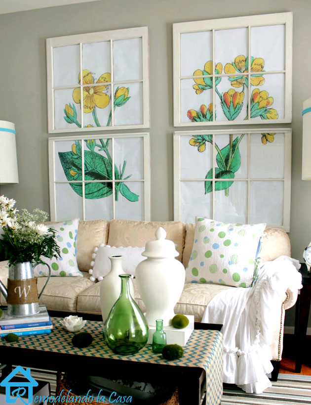 living room - shabby chic, green yellow and white