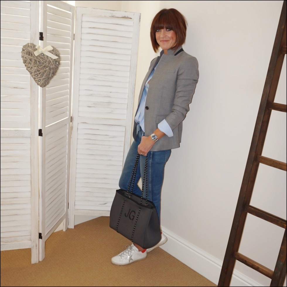 my midlife fashion, j crew regent grey blazer, sezane tomboy shirt, loel and co large sapphire ring, j crew cropped kick flare jeans, initially london aussie neoprene tote, golden goose superstar low top leather trainers