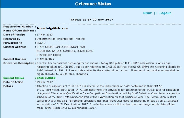 PGPortal Reply says No Change in SSC CHSL 2017 Age Date