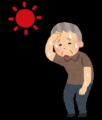 熱中症のお爺さんのイラスト