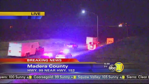 Highway 99 madera county pedestrian fatality semi truck crash accident september 2014