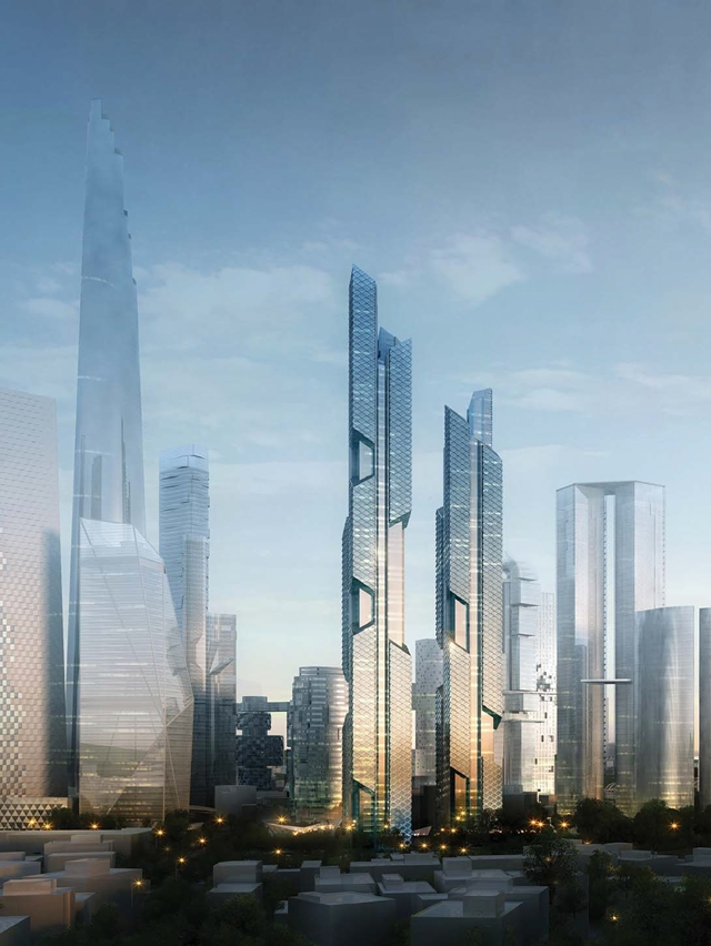 Rendering of Dancing Dragons by Adrian Smith + Gordon Gill Architecture with rest of the buildings in the background