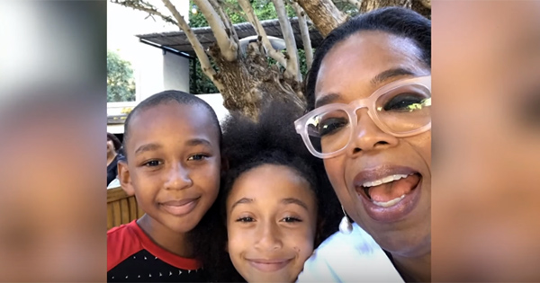 Oprah with the founders of Junior Flips