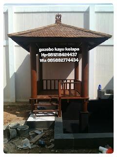 Menjual dan jasa pembuatan gazebo kayu kelapa untuk taman