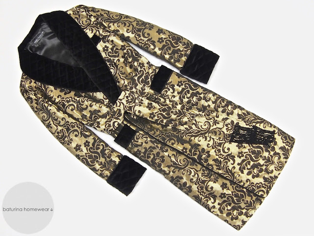 Mens silk dressing gown paisley gold black gentlemans robe warm quilted floor length