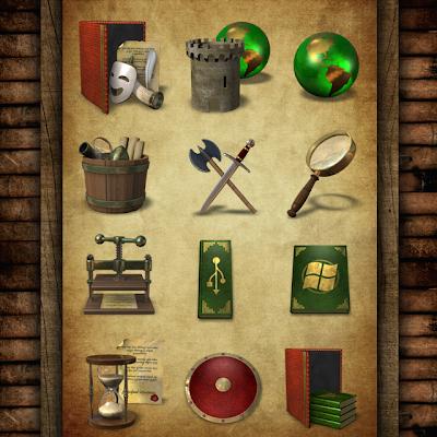 Iconos estilo medieval - Pack 2 en PNG e ICO