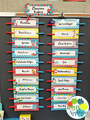 Keeping Organized with Two Half Day Classes. Color coded student job chart. | Apples to Applique