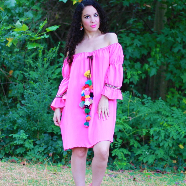 Shein Pink Off Shoulder Tassel Dress