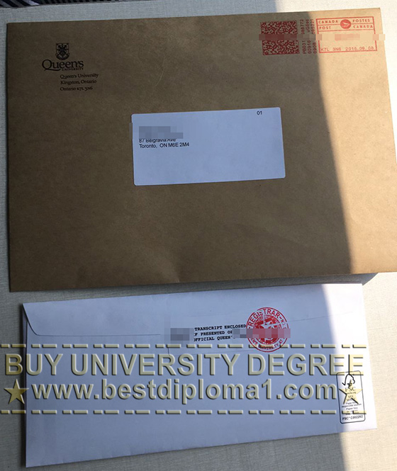 Queens University seal sticker for the enveope