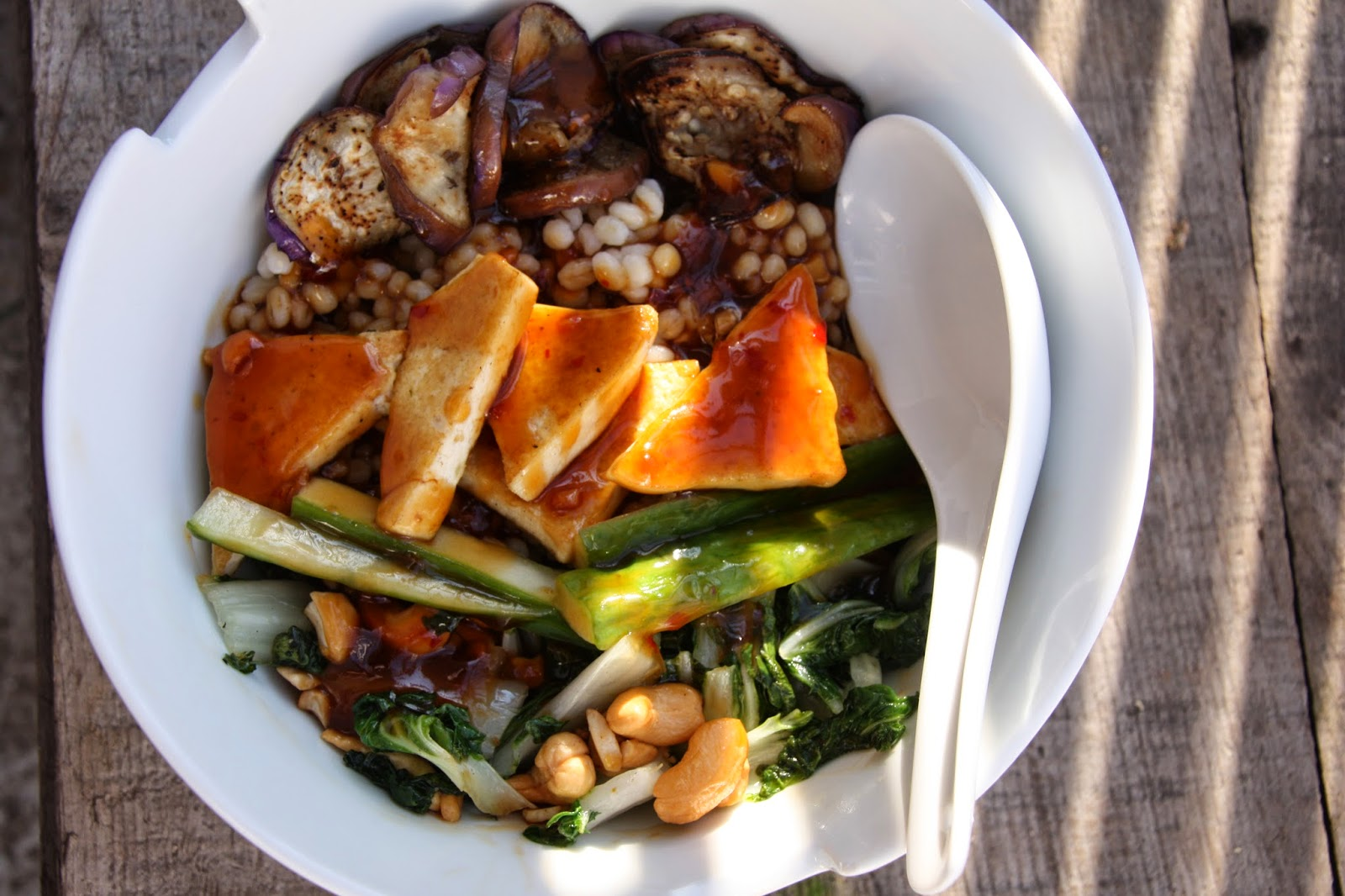 tofu vegetable barley bowl with Korean BBQ sauce