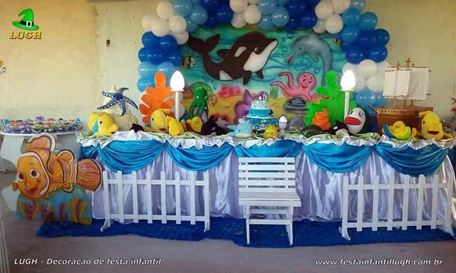 Mesa de tema tradicional de tecido - pano - Decoração de aniversário Fundo do mar para festa infantil feminina