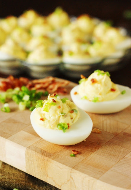 Shake up those traditional flavors by serving up a platter of Bacon-Cheddar Deviled Eggs.  They're a true bite of bacon-cheddar deliciousness!
