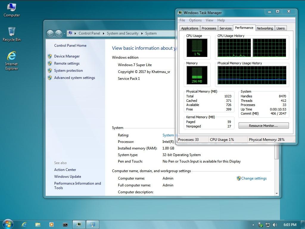 Windows 7 Super Lite Edition x86 (2017) - Nadierra