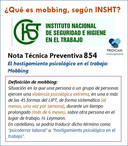MobbingMadrid Conoce qué es el mobbing, según el Instituto de Seguridad e Higiene en el Trabajo